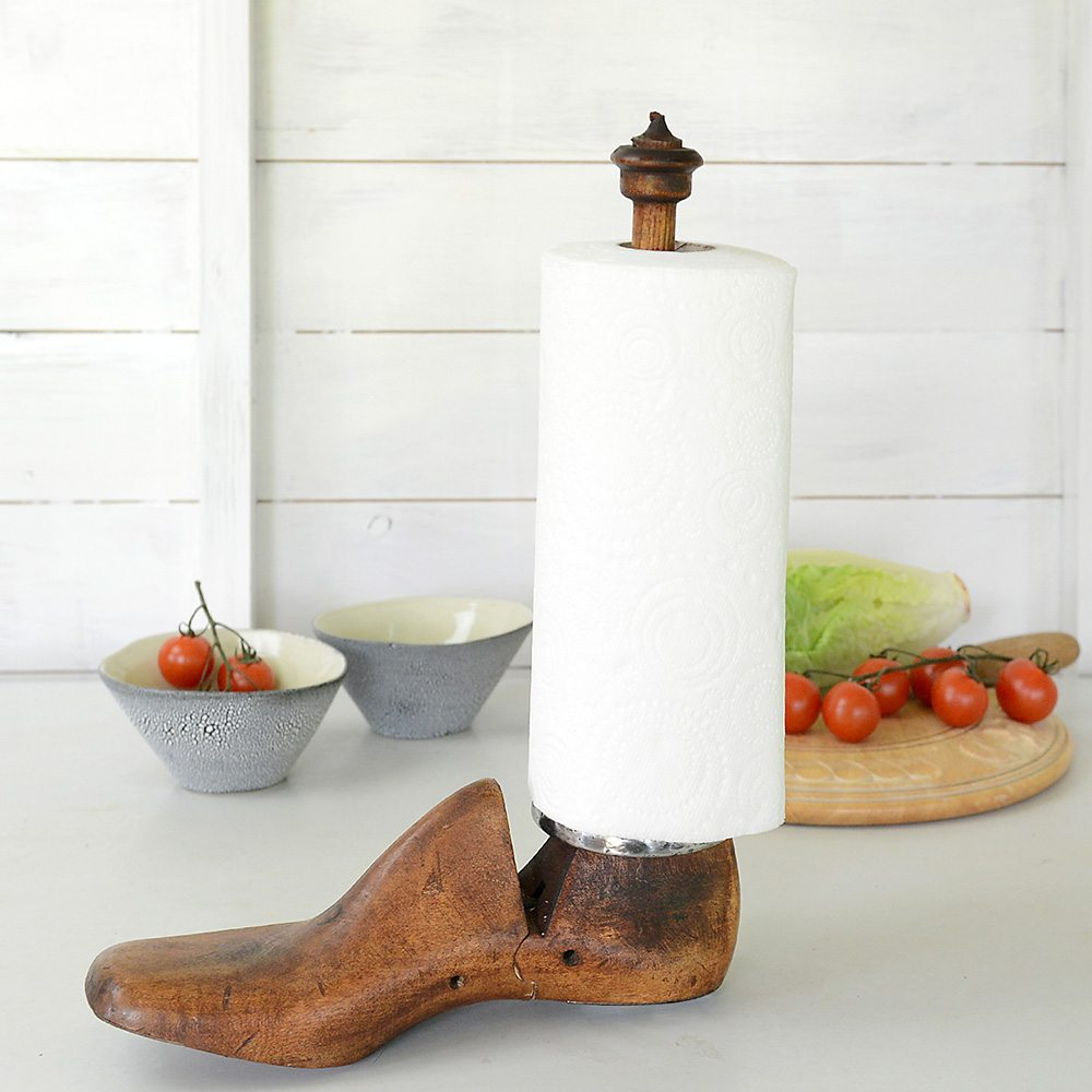 Vintage Shoe Last Kitchen Roll Holder.