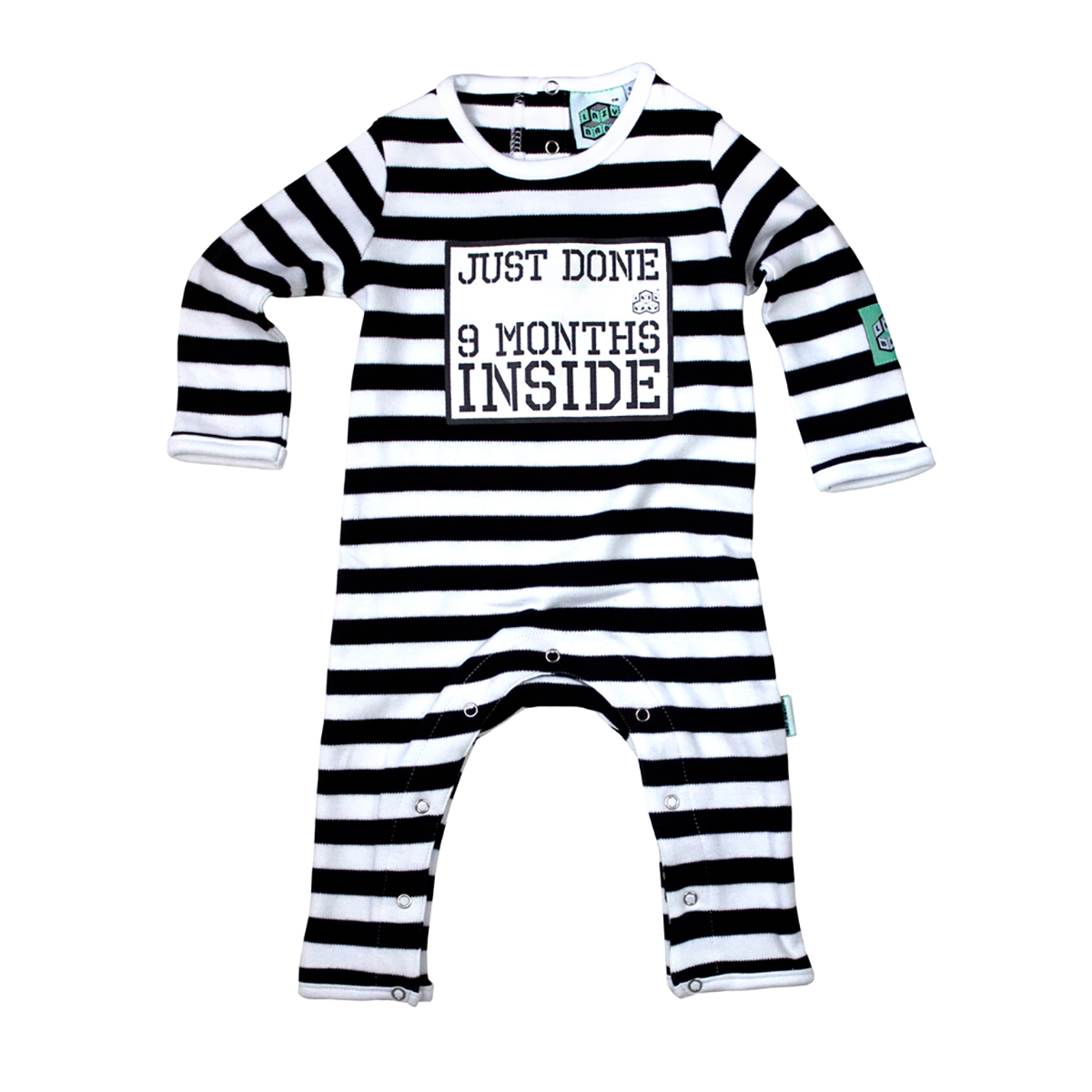 Black and White stripe baby grow with slogan 'Just done 9 months inside'
